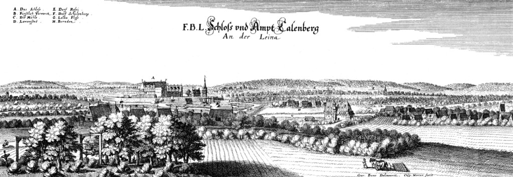 Calenberg im Jahr 1654 als Kupferstich von Caspar Merian.