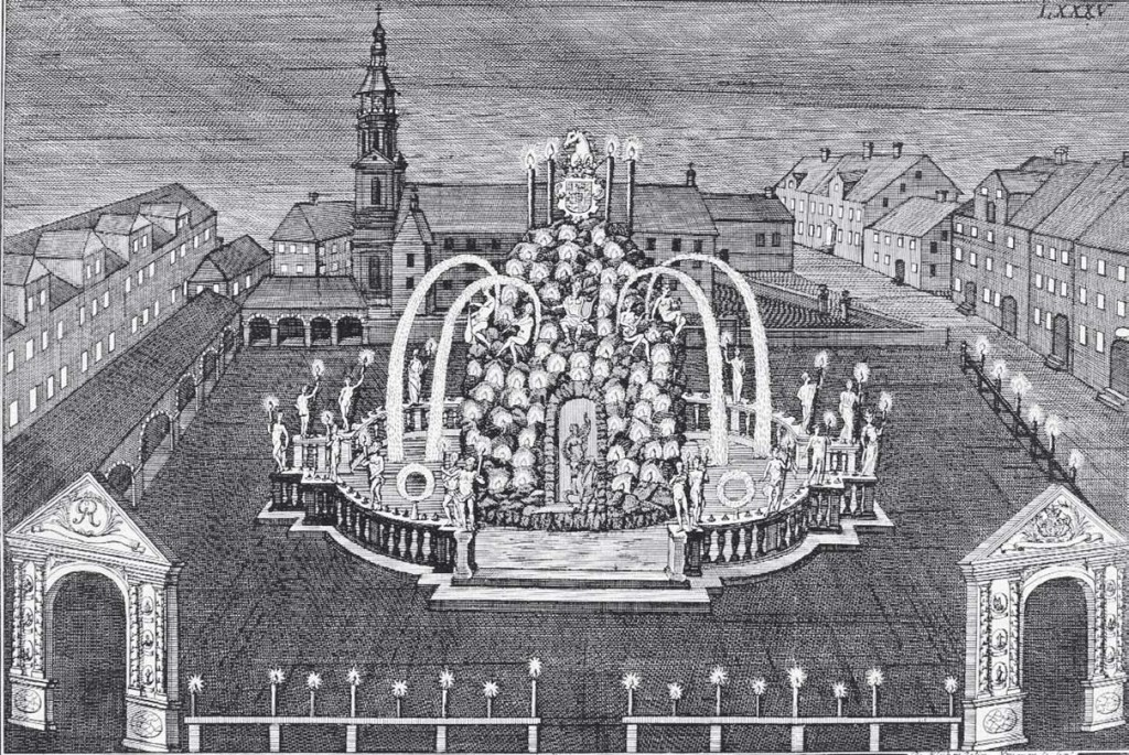 Der illuminierte Neustädter Markt mit dem Parnaßbrunnen. Kupferstich von de Klyher, 1727. Quelle: Niedersächsische Landesbibliothek