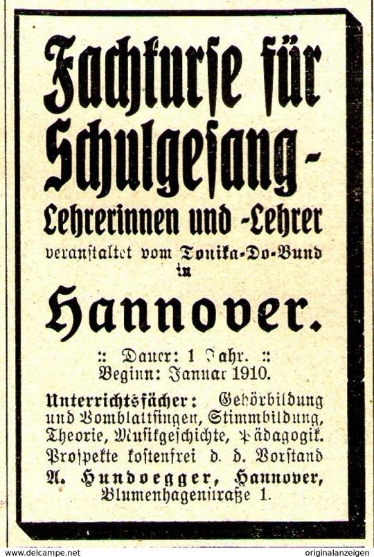 """Annonce """"Fachkurse für Schulgesang"""" 1910"""